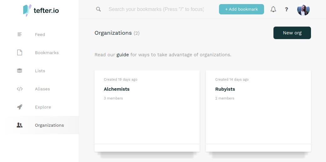 Create team page